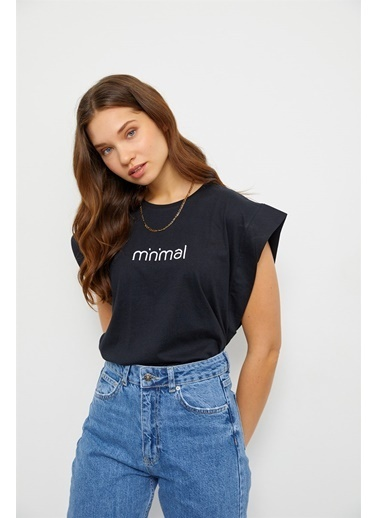 Setre Siyah Minimal Kolsuz T-Shirt Siyah